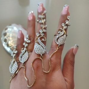 Arabesque dressy delicate adjustable quad ring set